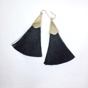 NWOT Anthropologie black tassels earrings